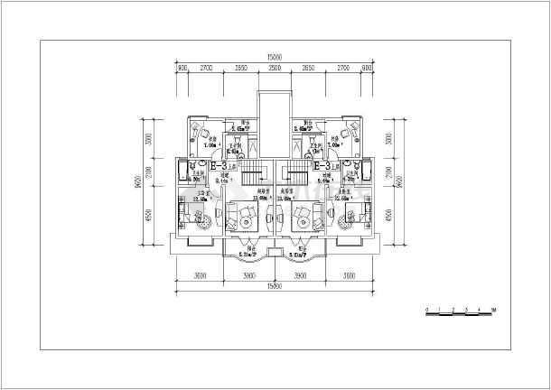 某地复式房型建筑cad平面图-图3