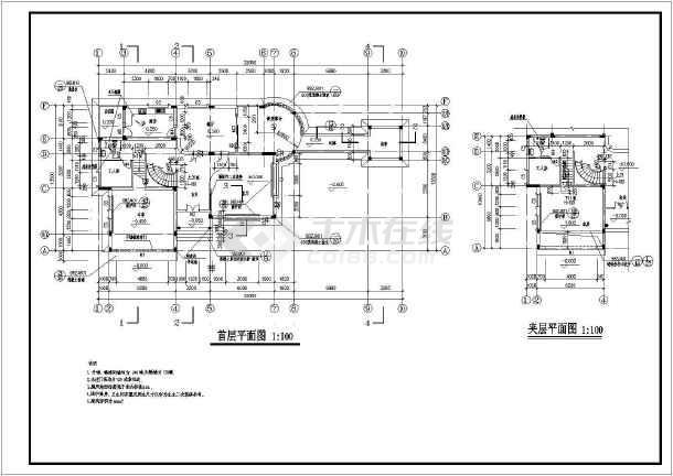某地多层独栋别墅建筑设计cad方案图-图2