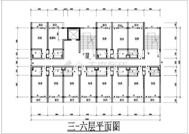 某住宅楼院内高层宾馆建筑设计方案CAD图-图2