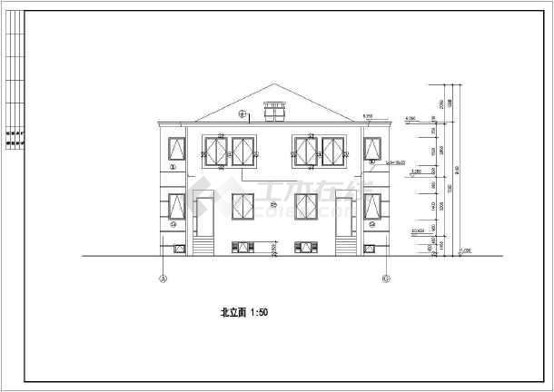 联体二层别墅建筑设计施工图-图3