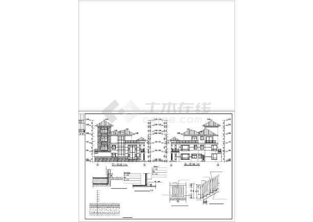 两套仿古别墅建筑设计图-图3