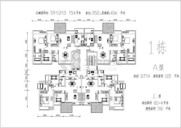 某地二三房经典户型平面图-图2