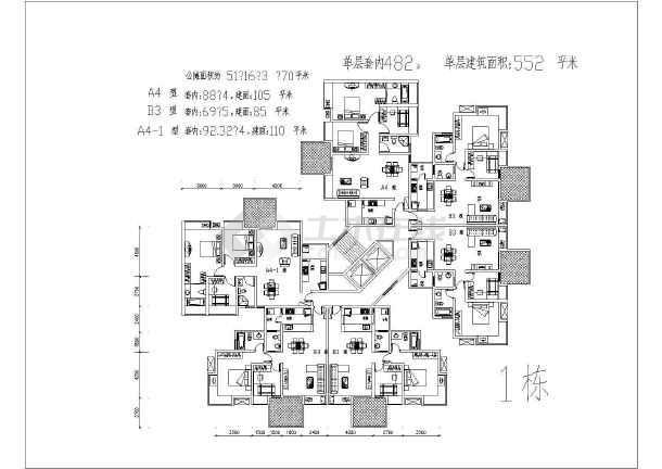 某地二三房经典户型平面图-图3