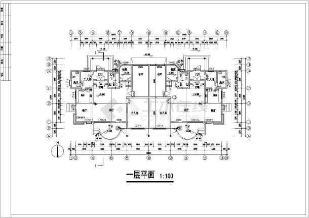 联体特色别墅建筑设计施工图-图3