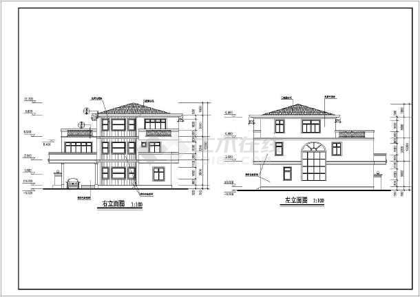 某高档多层独立别墅建筑设计方案图-图3