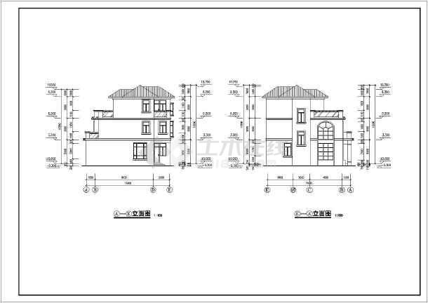 某地三层独栋别墅建筑设计cad方案图-图2