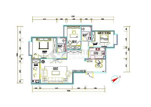 现代风格一百多平米全套施工图纸-图1