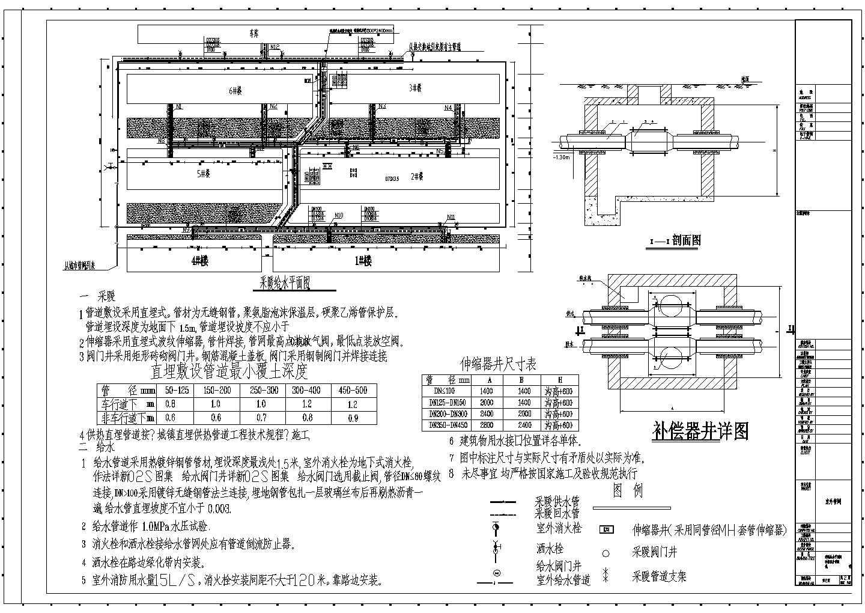新疆某住宅小区室外管网设计图图片3