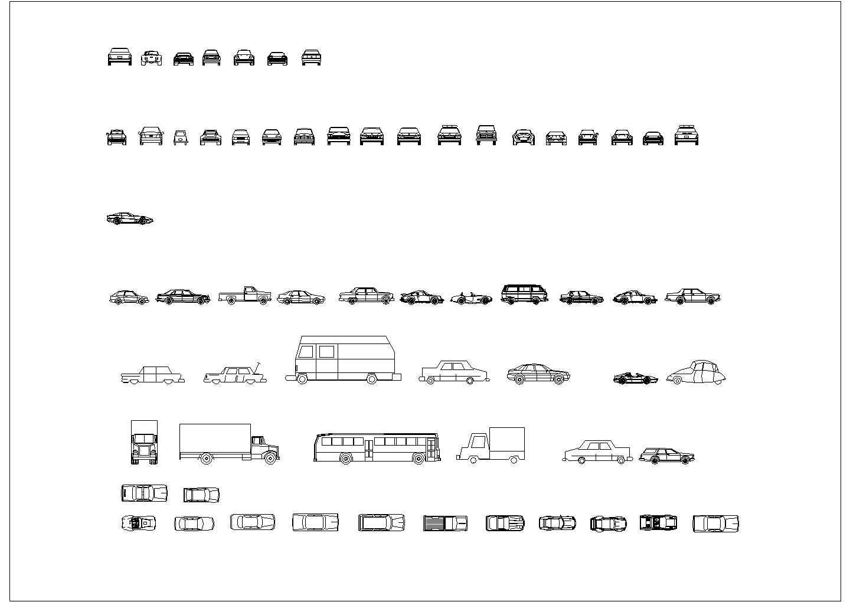 几十种汽车平立面cad素材图纸图片1