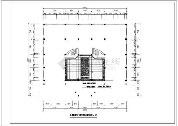 公司办公楼室内装修设计cad方案图-图二