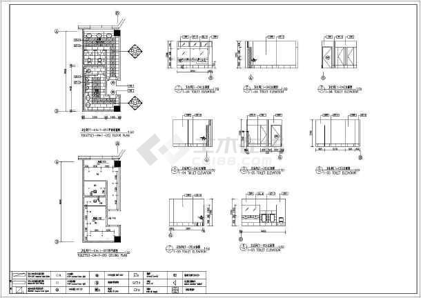点击查看公共卫生间室内装修设计cad图第2张大图
