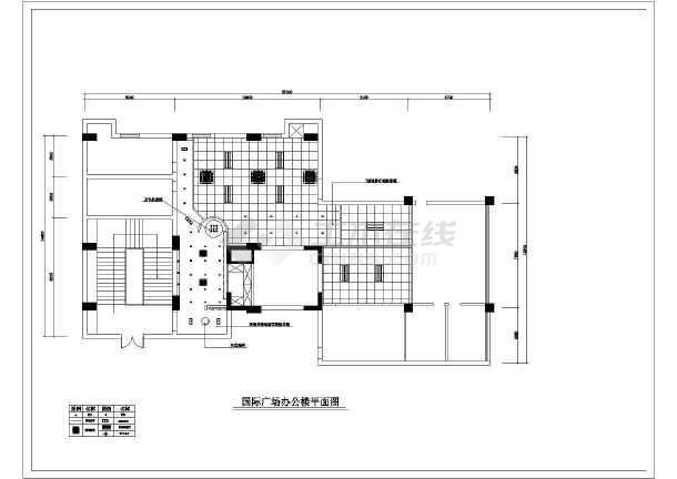 国际广场办公楼室内装修设计cad施工图-图一
