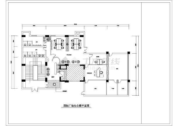 国际广场办公楼室内装修设计cad施工图-图二