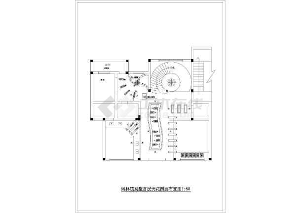 豪华别墅室内装修设计cad施工图-图一