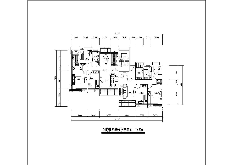 某地区经典的一梯两户住宅建筑户型图(共12张)图片1