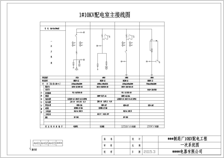 某制药厂配电工程高压开关柜电气设计图图片1