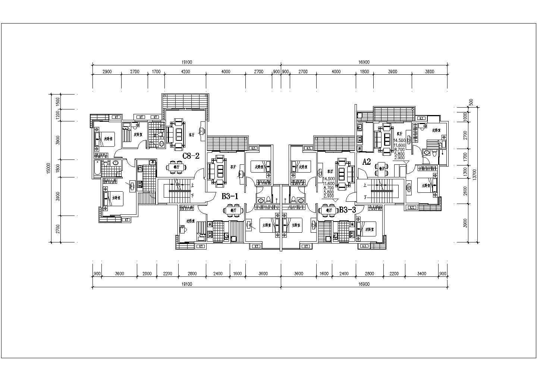 某地区一梯两户住宅楼建筑户型图(共7张)图片1