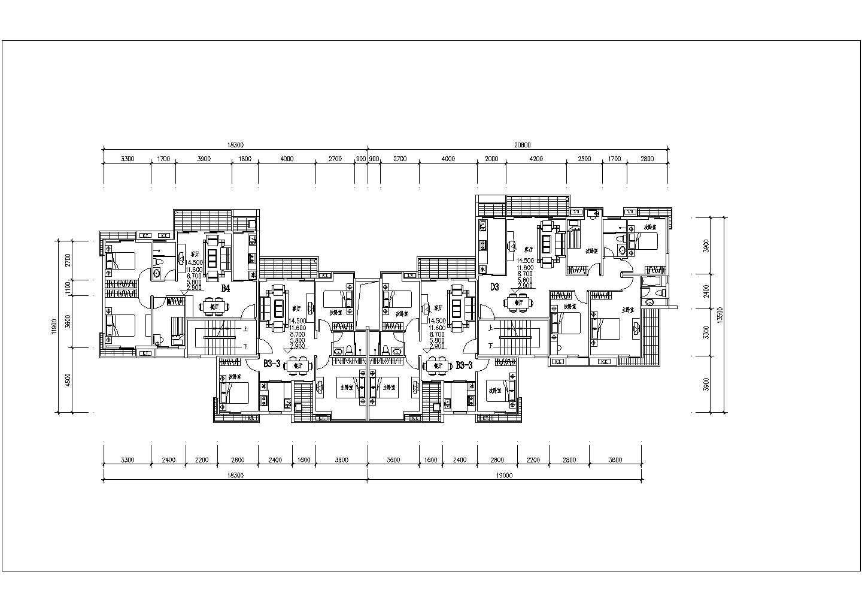 某地区一梯两户住宅楼建筑户型图(共7张)图片2
