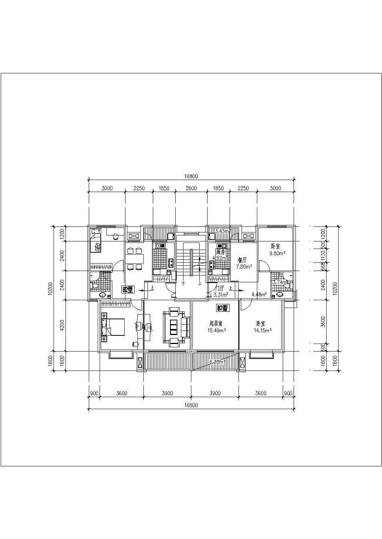 某地区一梯两户住宅楼建筑户型图(共7张)图片3
