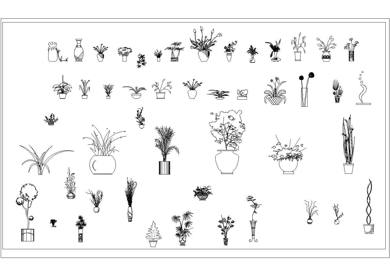 花盆花瓶家装立面cad素材图块.图片1