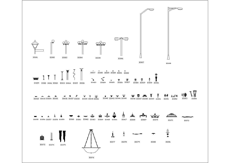 常用室内装修CAD素材图块之吊灯.图片1