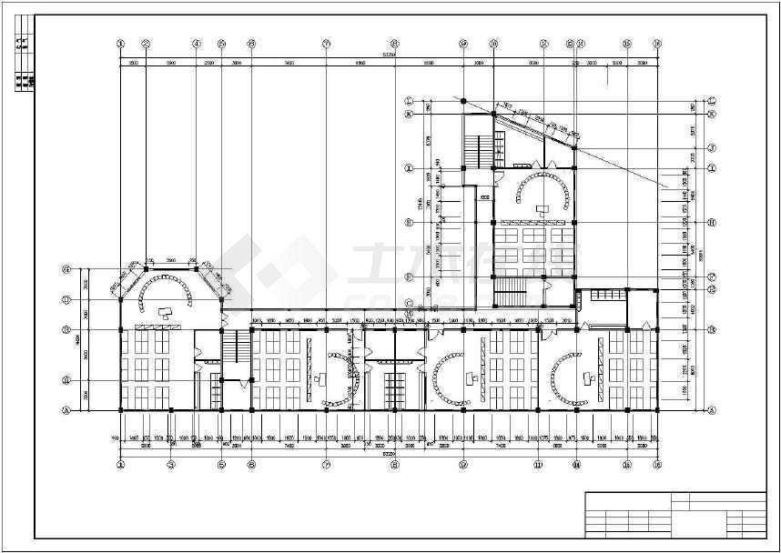 某地小型幼儿圆建筑cad设计图-图2