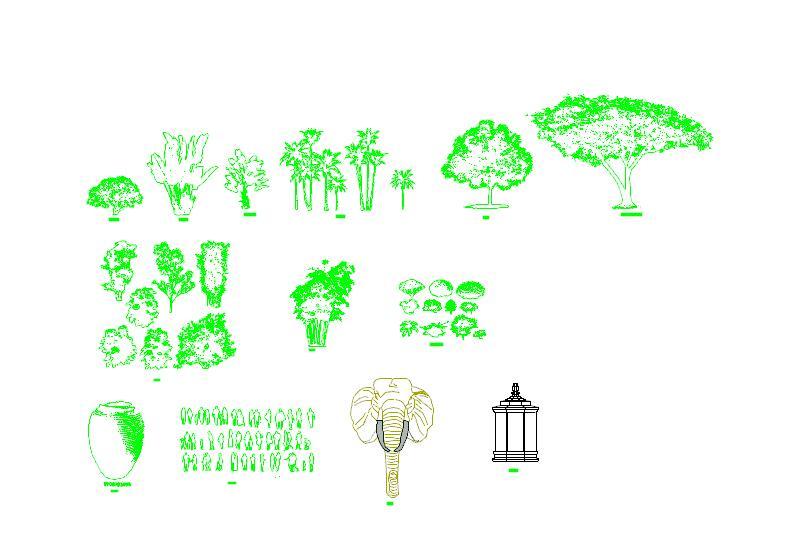 花半天时间整理的CAD素材(雕塑、人物、植物)图片1