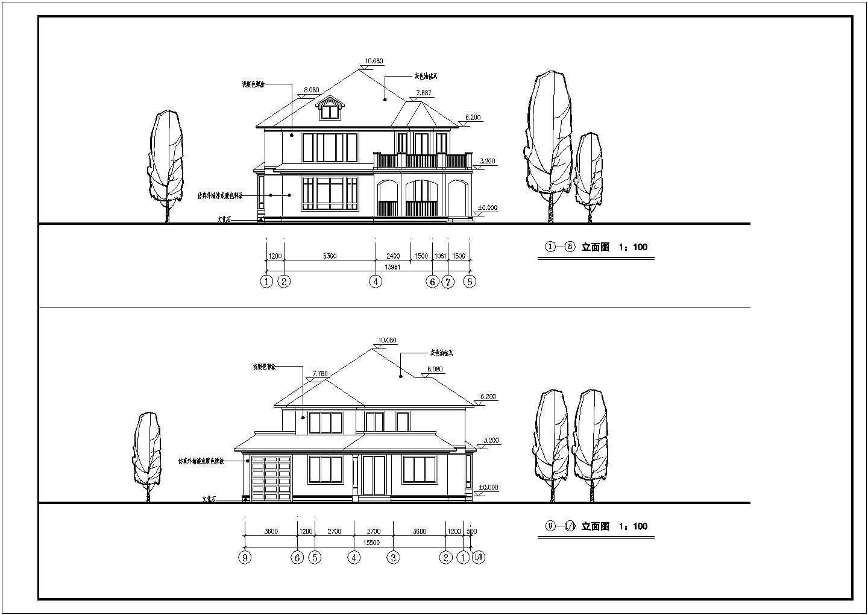 某二层欧式北入户别墅建筑方案(含效果图)图片2
