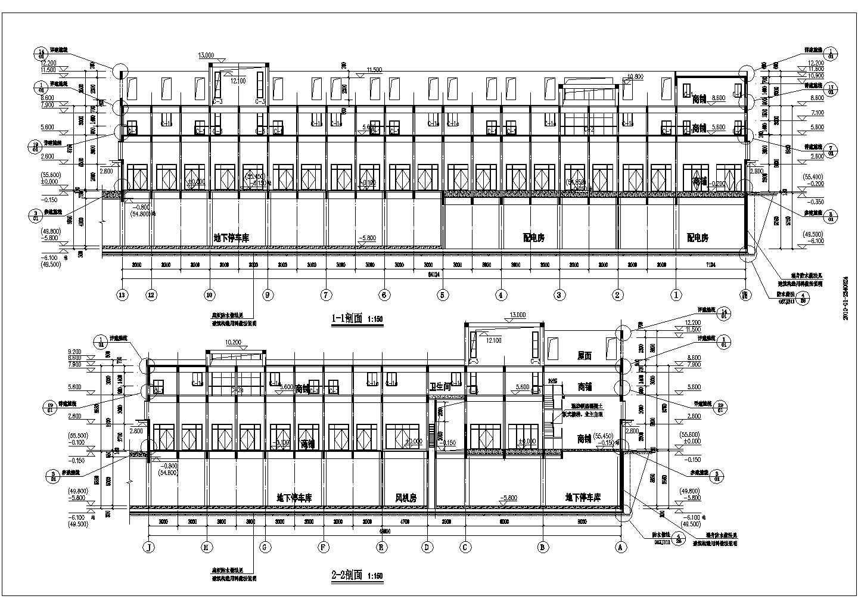 某3087�O3层商贸物流中心三层沿街商铺建筑施工图(1号楼)VIP图片3