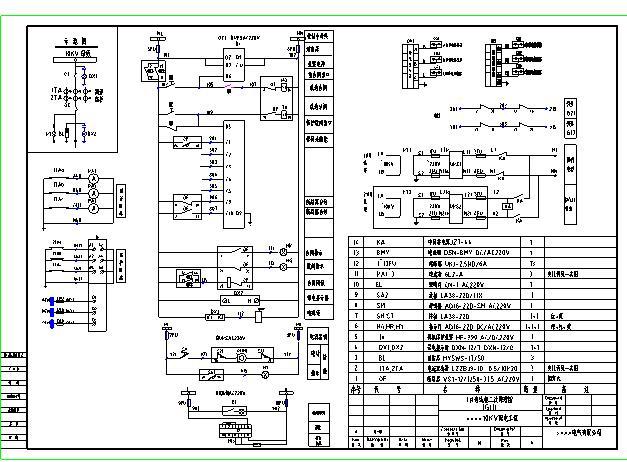 某地详细的10KV开闭所高压开关柜电气图纸图片1
