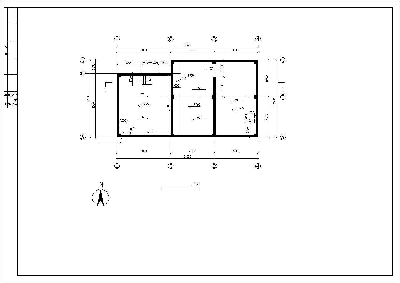 江苏303.78平方米地区消防水池建筑施工图图片1