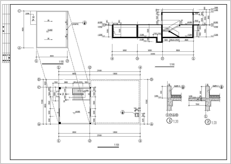 江苏303.78平方米地区消防水池建筑施工图图片3