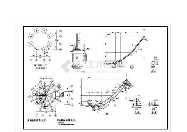 某园林建筑木结构八角亭结构施工图-图1
