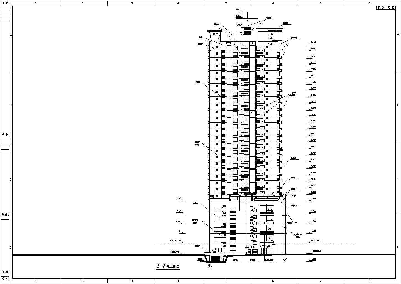 某地高层综合商住大厦建筑设计施工图(石材幕墙,钢筋混凝土结构,框架核心筒)图片2