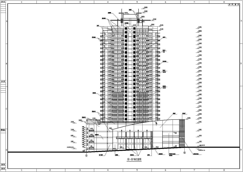 某地高层综合商住大厦建筑设计施工图(石材幕墙,钢筋混凝土结构,框架核心筒)图片3