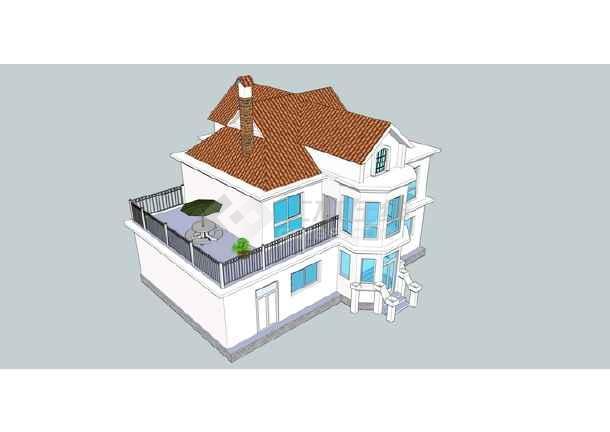 村庄别墅建筑设计资料(skp格式)-图一