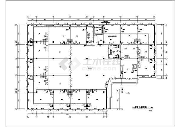 点击查看某地上五层商务楼电气施工图纸(二级负荷,第三类防雷)第1张大图