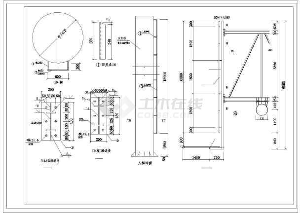 某三面广告牌结构设计图,共16张图纸-图1