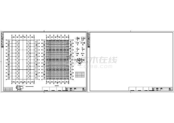 点击查看某单层排架全钢结构车间设计图第1张大图