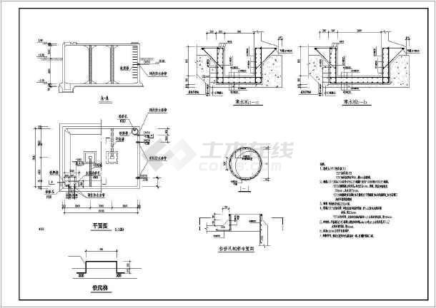 某冷却循环水池建筑结构图-图2