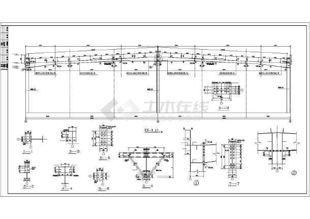 某门式钢架大跨度建筑结构图,共7张-图2