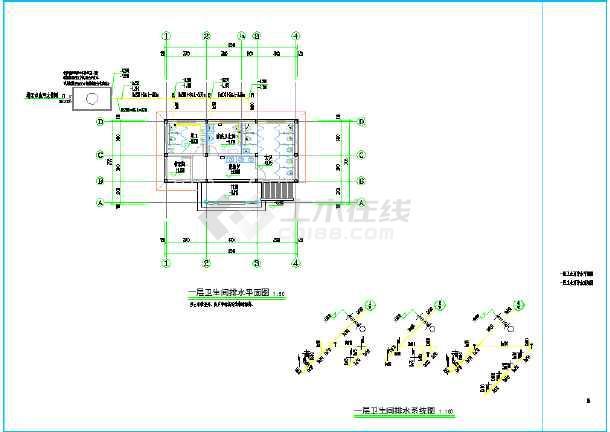 某村创3A景区旅游公厕建设工程给排水设计图纸(砖混结构,地上1层,建筑面积75平方米)-图1