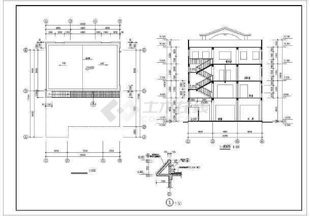 [广东]888平方米四层框架结构别墅结构图(含建筑图)-图一