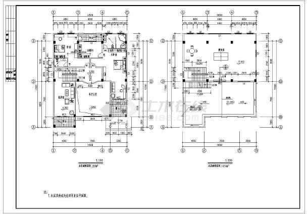 [广东]888平方米四层框架结构别墅结构图(含建筑图)-图二