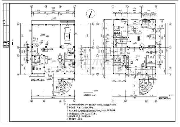 [广东]888平方米四层框架结构别墅结构图(含建筑图)-图2