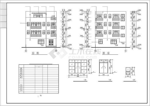 450平四层框架结构独栋别墅结构施工图(含建筑图)-图一