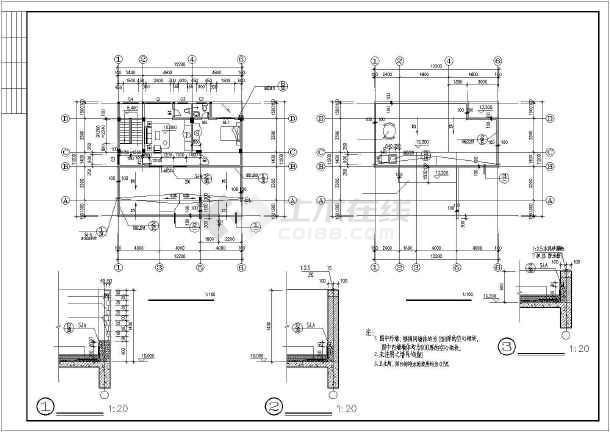 450平四层框架结构独栋别墅结构施工图(含建筑图)-图二