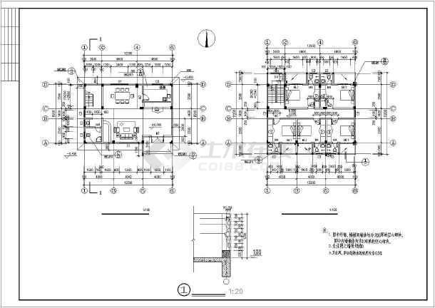 450平四层框架结构独栋别墅结构施工图(含建筑图)-图2