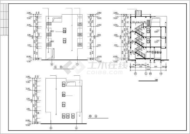 450平四层框架结构独栋别墅结构施工图(含建筑图)-图3