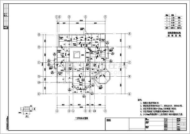 [大连]1011.22平方米三层框架剪力墙结构别墅结构施工图(含建筑图)-图3